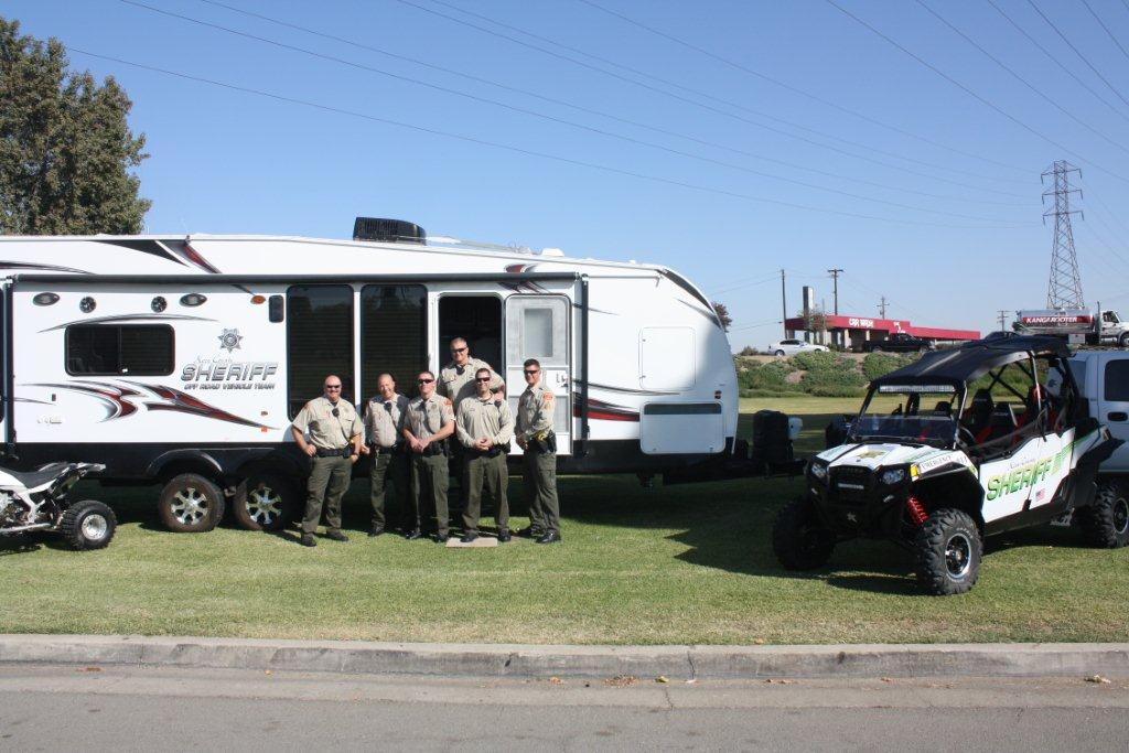 Deputies in front of Safety Trailer at the Park